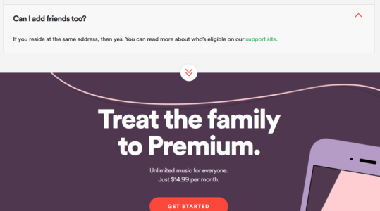 Spotify Premium Family Plan page uk